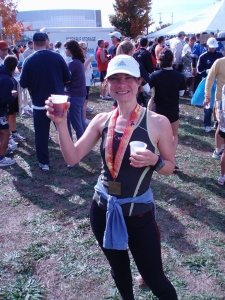 The celebration after my first marathon, Oct 19, 2008.